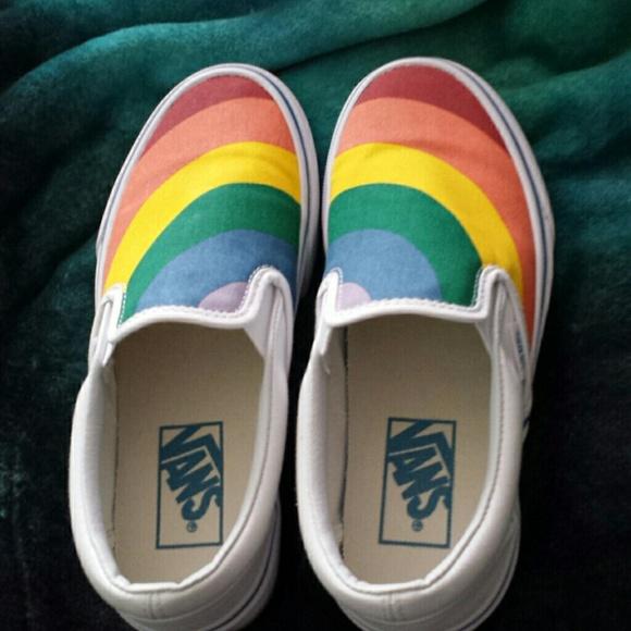 vans rainbow slip ons